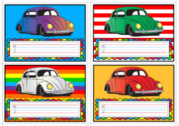 Nameplates - VW Beetles Theme (Qld Yr1 Handwriting Lines), Set of 28, A3 size
