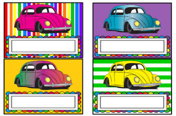 Desk Plates - VW Beetles Theme (Blank Boxes), Set of 28, Tabloid size