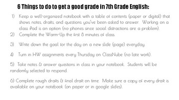 CLASS NOTEBOOK WITH WARM-UPS AND TABLE OF CONTENTS