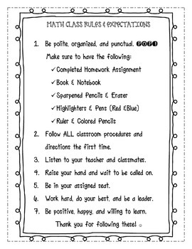 CLASS RULES EXPECTATIONS PRINTABLE FOR INTERACTIVE NOTEBOOK! BACK TO school