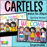 Carteles para la clase | Class Signs Poster English and Spanish