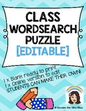 CLASS WORDSEARCH PUZZLE