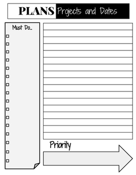 2016-2017 Teacher Planner Monthly and Weekly Calendar Pages, Black/White