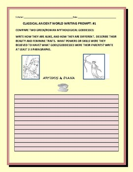 CLASSICIAL WRITING PROMPT #1 : COMPARE 2 GREEK/ ROMAN GODDESSES