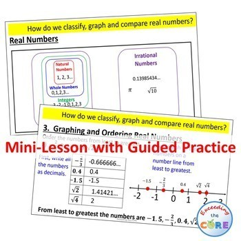 CLASSIFY, GRAPH & COMPARE REAL NUMBERS PowerPoint Mini-Lesson & Guided Practice
