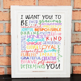 Inspiring Classroom Poster - BE YOU - Character - Growth M