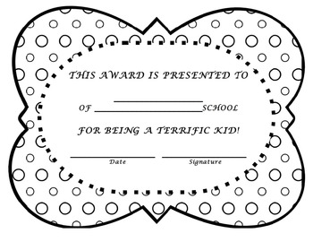 CLASSROOM AWARD CERTIFICATES-End of the Year Awards