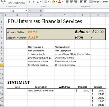 CLASSROOM BANKING: Bank Application, Excel Banking, and Check Register