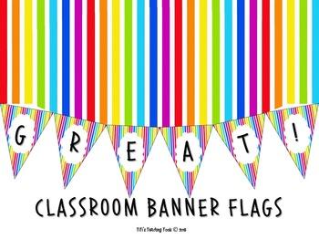 CLASSROOM BANNER FLAGS {RAINBOW}
