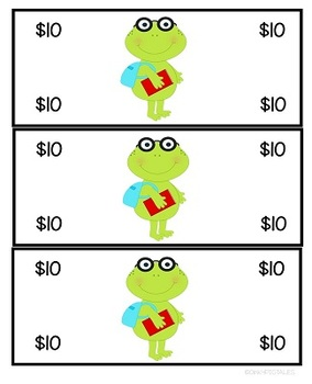 Classroom Play Money for Behavior Rewards and Dramatic Play Centers FROGS