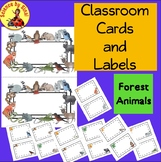 CLASSROOM DECOR CARDS LABELS Forest Woodland Animals Environment Task Sort