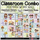 CLASSROOM CENTERS & RULES POSTERS WITH WORD WALL (BUNDLE)