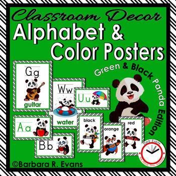 CLASSROOM DECOR: Alphabet, Color Posters, Green & Black, Panda Theme