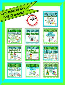 CLASSROOM DECOR BUNDLE: Blue & Green Scheme, How TWEET It Is Theme