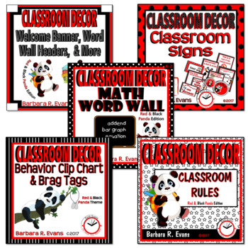 CLASSROOM DECOR BUNDLE: PANDA-monium, Panda Theme, Red & Black