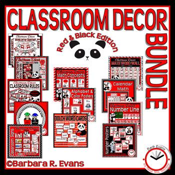 CLASSROOM DECOR BUNDLE Panda Theme Red Black Editable