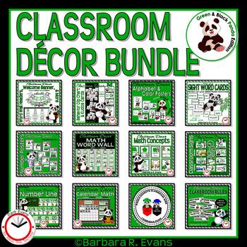 CLASSROOM DECOR BUNDLE Panda Theme Green Black Editable