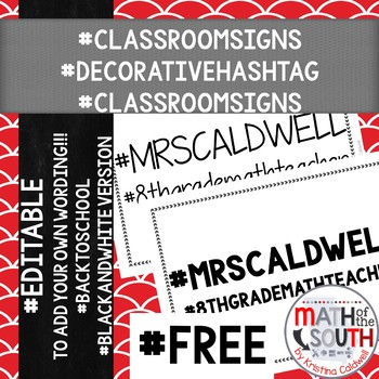 Classroom decor hashtag signs back to school freebie 2 for Decor hashtags