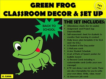 CLASSROOM DECOR SET & FORMS - GREEN FROG THEME UPDATED & IMPROVED