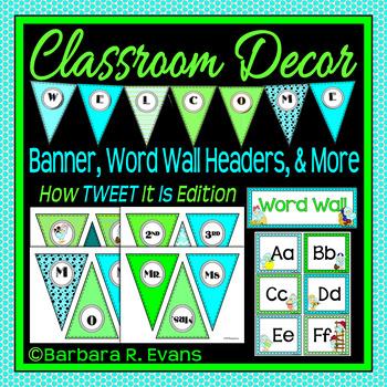 WELCOME BANNER WORD WALL Classroom Decor TWEET Bird Theme
