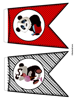 CLASSROOM DECOR: Welcome Banner, Word Wall, Red & Black, Panda Theme