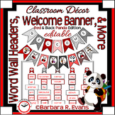 WELCOME BANNER WORD WALL Red Panda Theme Classroom Decor