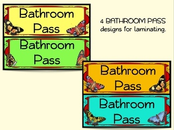 CLASSROOM HALL BATHROOM PASSES, Name tags, Plates Station labels BUTTERFLY THEME