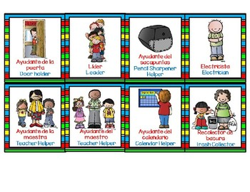 HELPER CHART for  BILINGUAL, ENGLISH AND SPANISH CLASSROOMS-EDITABLE