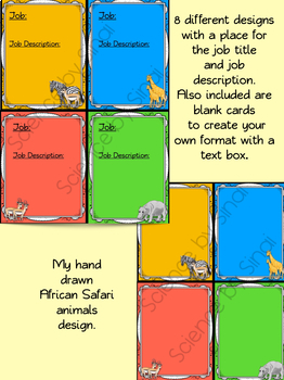 CLASSROOM JOB CARDS, STATION LABELS, NAME PLATES- AFRICAN SAFARI ANIMALS THEMED