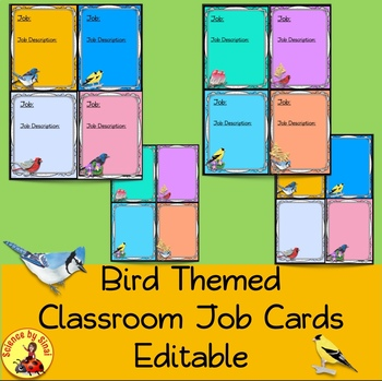 CLASSROOM JOB CARDS, STATION LABELS, NAME PLATES- BIRD THEMED