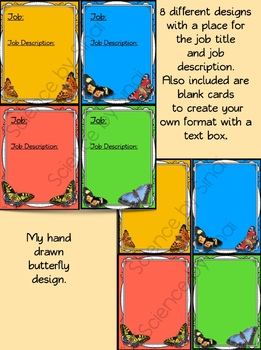 CLASSROOM JOB CARDS, STATION LABELS, NAME PLATES- BUTTERFLY THEMED