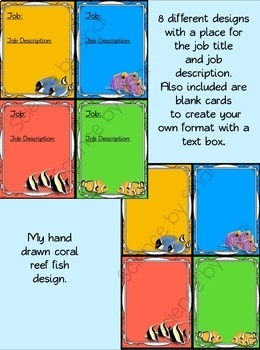 CLASSROOM JOB CARDS, STATION LABELS, NAME PLATES- CORAL REEF FISH THEMED