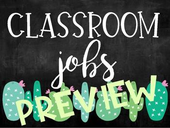 CLASSROOM JOBS - CACTUS/CHALKBOARD (Editable)
