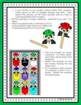 CLASSROOM JOBS Panda Theme Classroom Decor Green Black Editable
