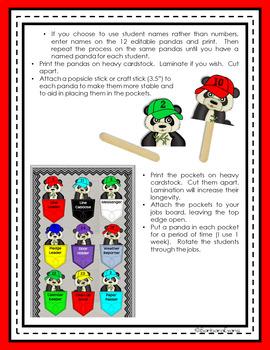 CLASSROOM JOBS: Classroom Decor, Panda Theme, Red and Black