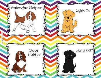 CLASSROOM JOBS DOGS ON RAINBOW CHEVRON {EDITABLE!}