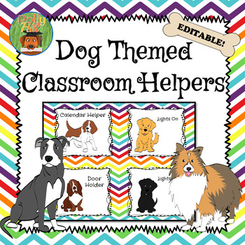 CLASSROOM JOBS DOGS ON RAINBOW CHEVRON {EDITABLE!}