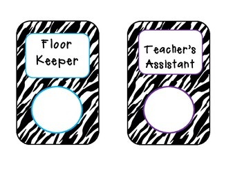 CLASSROOM JOBS ~ Zebra Print