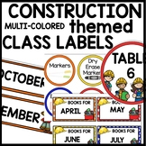 CLASSROOM LABELS Construction Classroom Theme Decor Printables