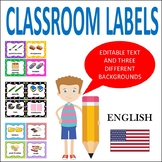 CLASSROOM LABELS IN ENGLISH - WITH PICTURES AND EDITABLE VERSIONS