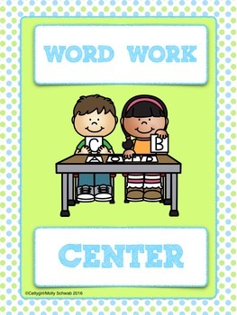 CLASSROOM LEARNING CENTER SIGNS - Lime Green & Blue Polka Dot