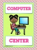 CLASSROOM LEARNING CENTER SIGNS - Lime Green & Pink Colors