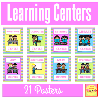 CLASSROOM LEARNING CENTER SIGNS - Rainbow Bright Colors