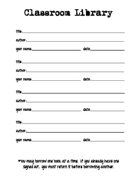 CLASSROOM LIBRARY BOOK CHECK-OUT SHEET