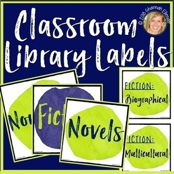 CLASSROOM LIBRARY LABELS FOR BINS, EDITABLE LABELS, DECOR: LIME, BLUE