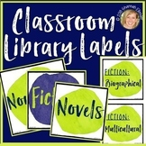 CLASSROOM LIBRARY LABELS FOR BINS, BLANK EDITABLE LABELS, DECOR: LIME, BLUE