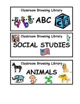 CLASSROOM LIBRARY LABELS- Unleveled Browsing Baskets