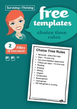 CLASSROOM MANAGEMENT - Free Choice Time Rules