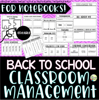 CLASSROOM MANAGEMENT Foldables & Notebook Activities #BTS17 {Editable}