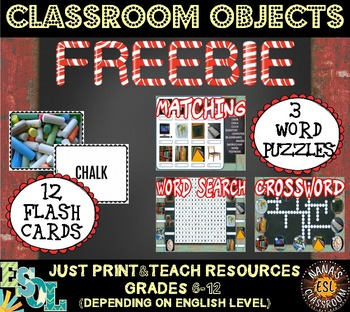 CLASSROOM OBJECTS (ESL) - FLASH CARDS AND PUZZLES